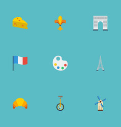 flat icons palette tower unicycle and other vector image