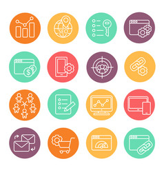 flat line icons set seo website searching vector image