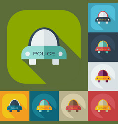 Flat modern design with shadow icons cop car vector