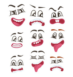 Funny smileys faces isolated icon set vector