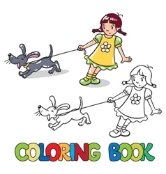 Girl with barking dog Coloring book vector