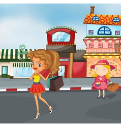 girls on the road vector image