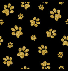 Gold dog paw seamless pattern golden glitter art vector