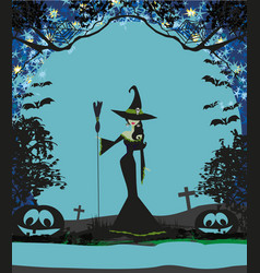 halloween invitation with beautiful witch vector image