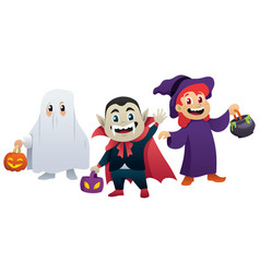halloween kids on white vector image
