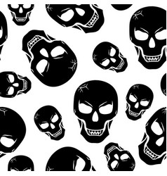 Halloween scary fanged skull pattern seamless vector