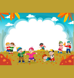 happy children playing with autumn leaves vector image