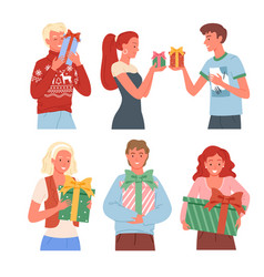 Happy people with christmas gifts collection new vector