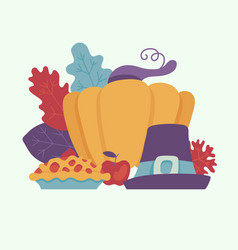 happy thanksgiving day design element with autumn vector image