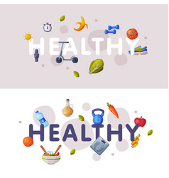 healthy lifestyle banners set fitness and sports vector image