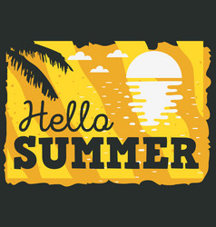hello summer time design with sunrise above the vector image