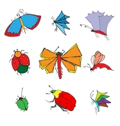Insects doodle set vector