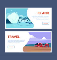 island travel horizontal banners set travel vector image