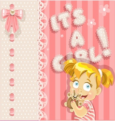 Its a girl pink lovely announcement card vector