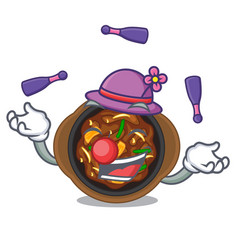 Juggling bulgogi isolated with in character vector