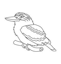 Kookaburra sitting on branch icon in outline style vector