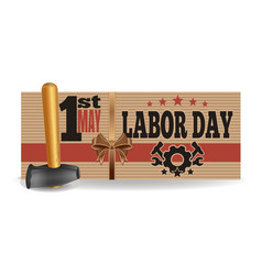 Labor day 1 may international workers day card vector