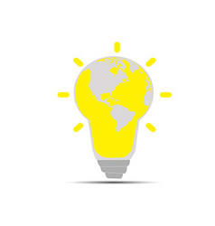 Light bulb with a world globe vector