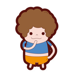 Line color boy with curly hair and thinking face vector