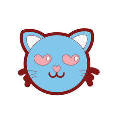 line color enamored cat head cute animal vector image