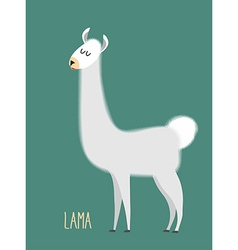Llama Alpaca Animal Lama on a green background vector
