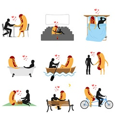 Love for hot dog set Man and fast food in cinema vector
