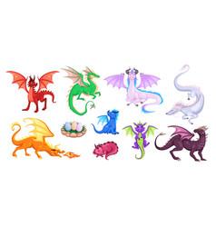 Magic dragons fantasy funny creatures big flying vector