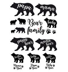 Mama bear papa bear babear set vector