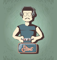 Man playing video game retro vector