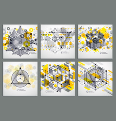 Mechanical scheme yellow engineering drawings set vector