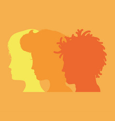 men and woman heads silhouettes vector image