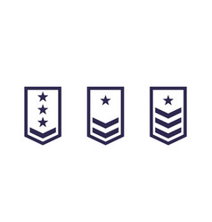 Military rank army epaulettes set vector