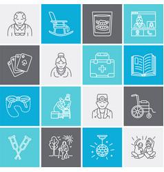 modern line icon senior and elderly care vector image
