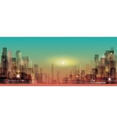 Modern night city cityscape vector