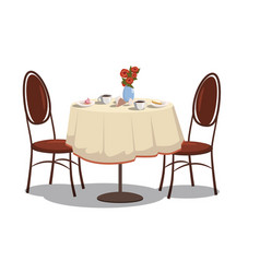 modern restaurant table with tablecloth coffe vector image