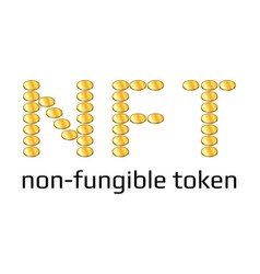 Nft word from golden coins non fungible token vector