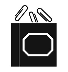 Paper clips box icon simple style vector