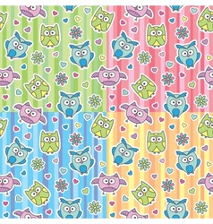 patterns of cartoon owls vector image vector image