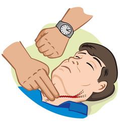 person measuring pulse through carotid artery vector image