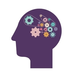 Purple silhouette head with gears vector