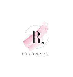 R letter logo with pastel watercolor aquarella vector