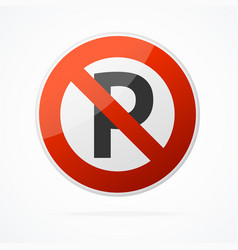 realistic detailed 3d no parking red round sign vector image