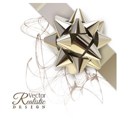 Realistic golden bow vector