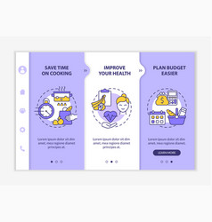 Reasons for meal planning purple onboarding vector