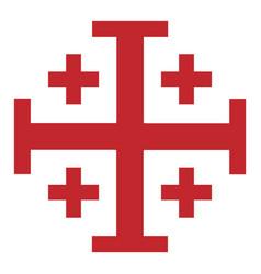 red jerusalem cross cross knightly order of vector image