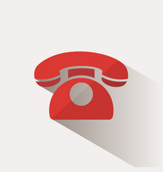 red phone icon with shadow on a beige background vector image