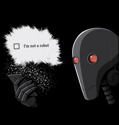 robot and smartphone vector image