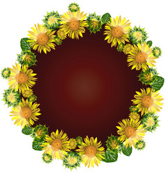 Round wreath of yellow blossoming sunflowers vector