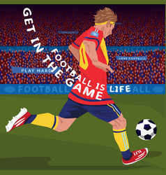 Running football player in stadium vector