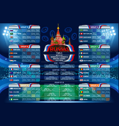 Russia world cup calendar vector